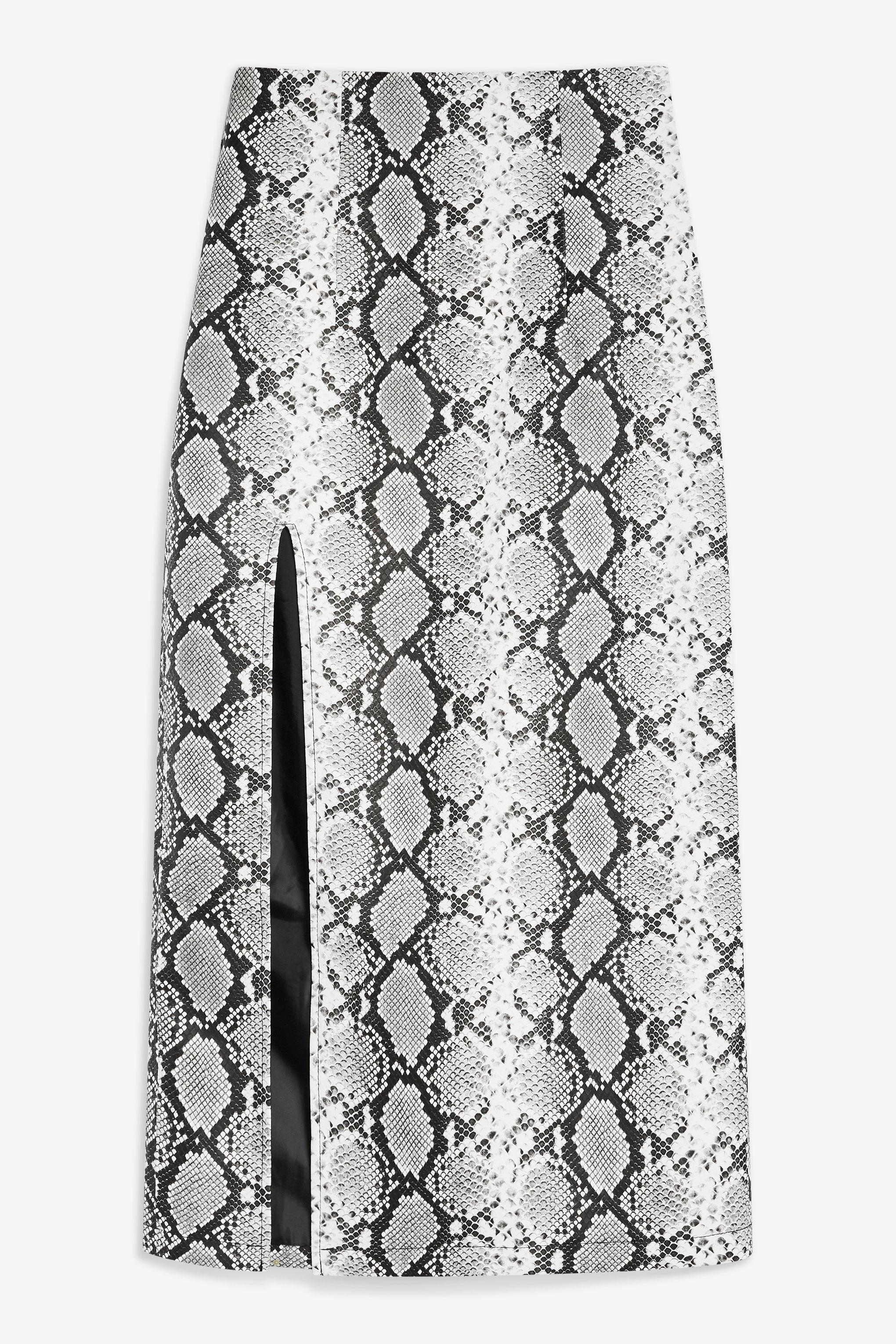 67592e58efb02b TOPSHOP Snake Print Leather Look Pencil Skirt in Black - Lyst