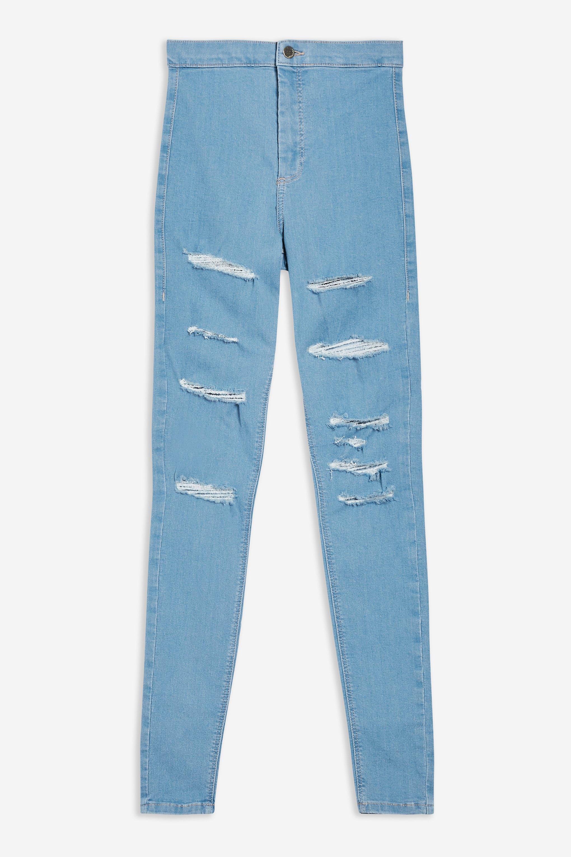 b37439f1513 TOPSHOP - Blue Bleach Super Ripped Joni Jeans - Lyst. View fullscreen
