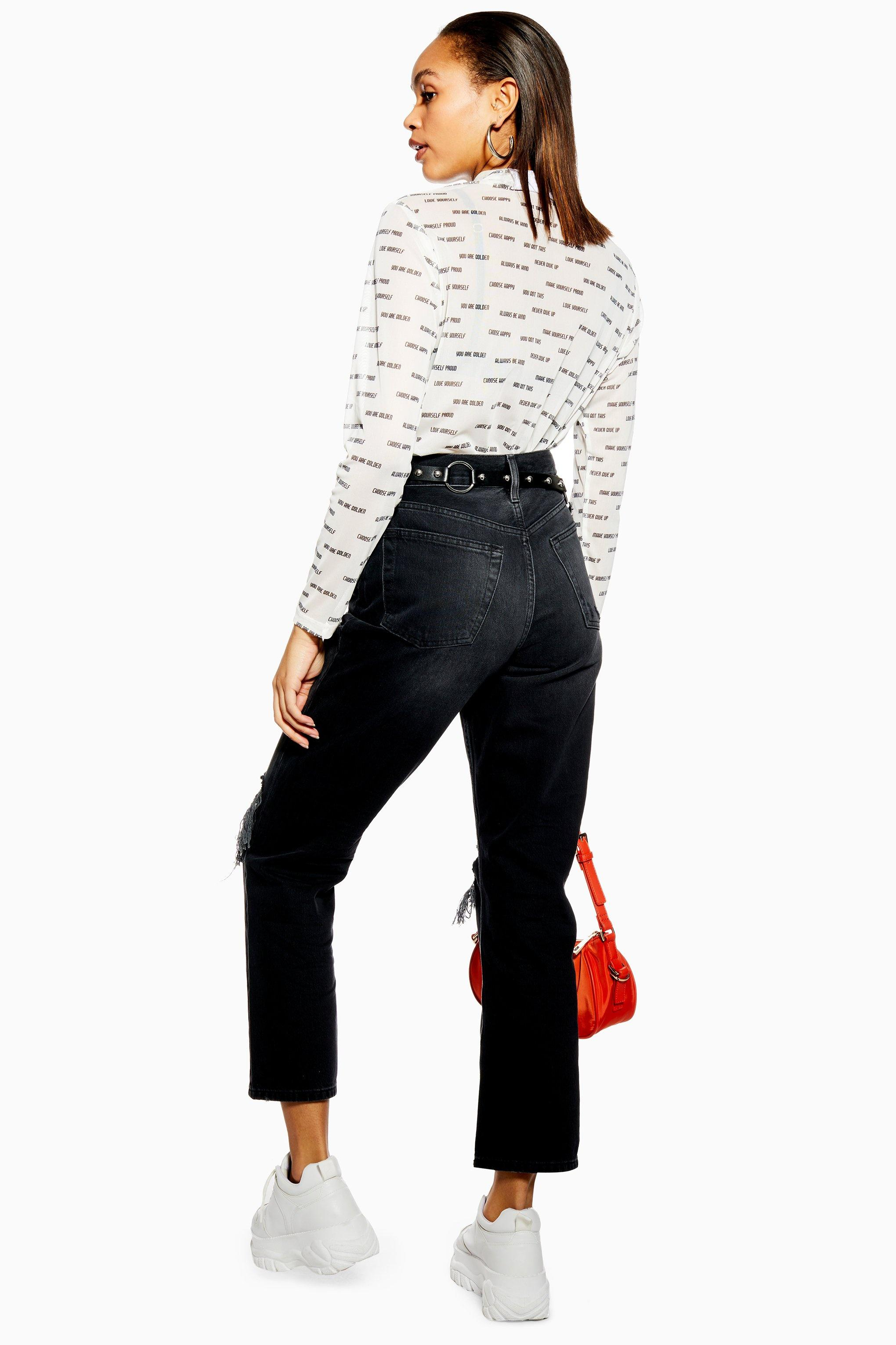 92ccf019a6c91b TOPSHOP Washed Black Ripped Dad Jeans in Black - Lyst