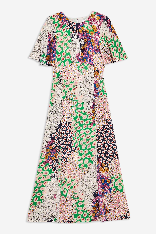 fc9ecb790 TOPSHOP Austin Floral Print Angel Sleeve Midi Dress - Lyst