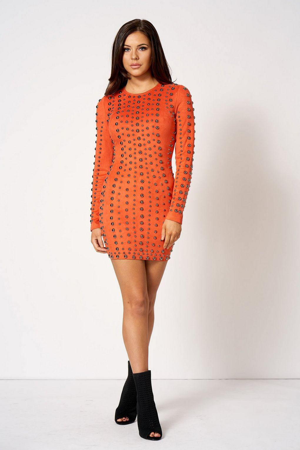 7ce368cd7725 Club L Stud Rivet Detail Bodycon Dress By in Orange - Lyst