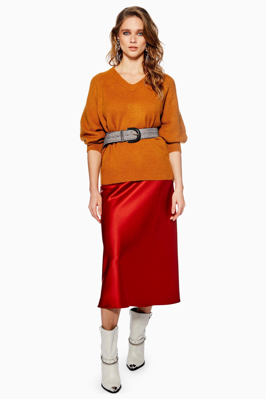 06cb1775f1a TOPSHOP Satin Bias Midi Skirt in Red - Lyst