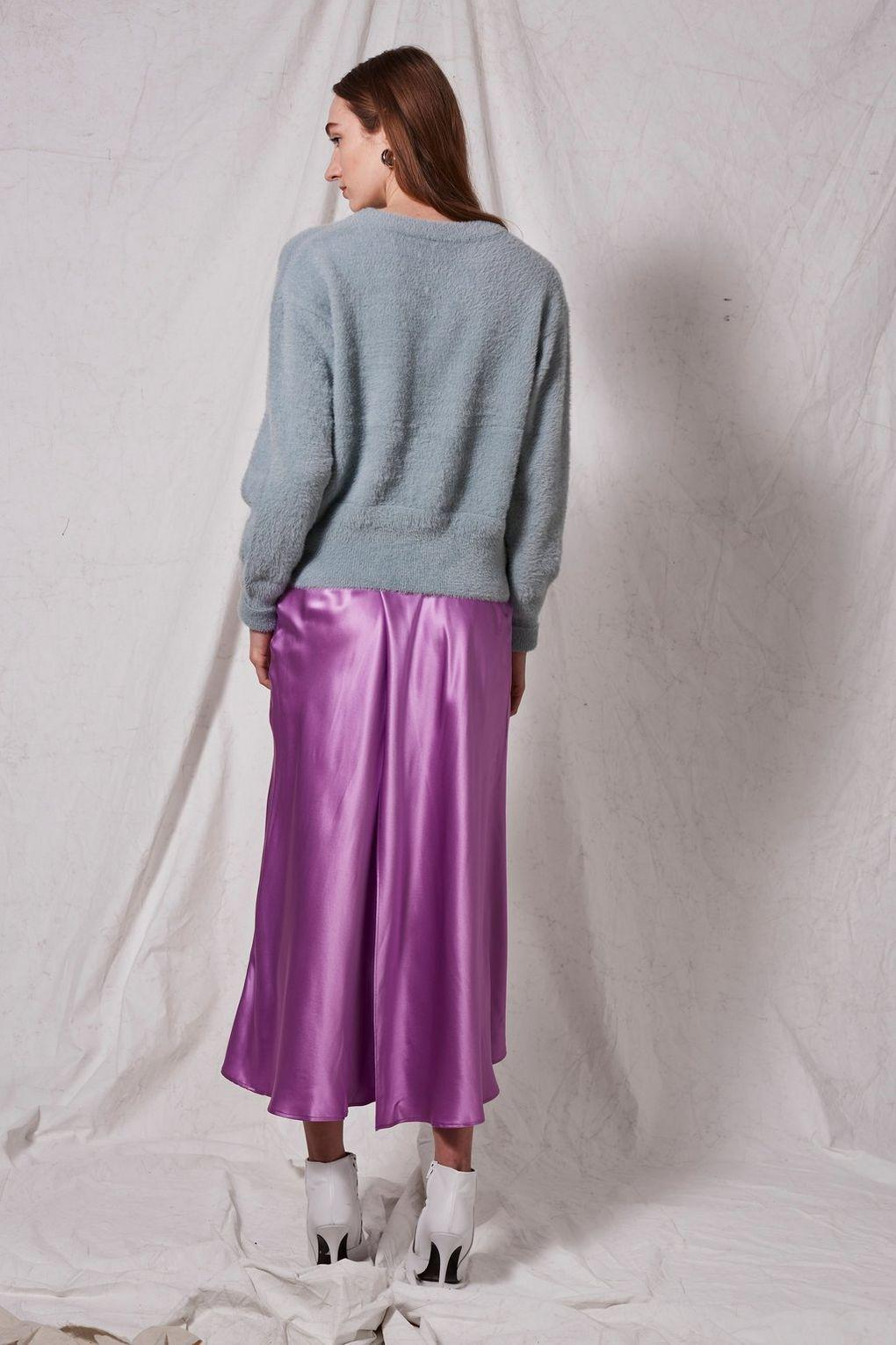 4df8b394321d8 Lyst - Topshop Satin Midi Skirt By Boutique in Purple