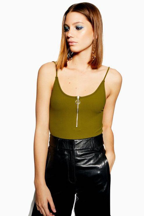 4854f48ba42 Topshop Zip Plunge Bodysuit in Green - Lyst