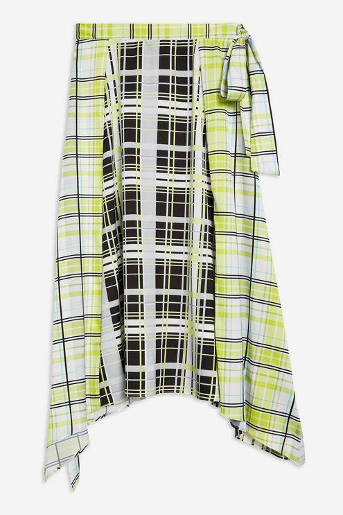 7093ebcea TOPSHOP Obsession Mixed Check Print Midi Skirt in Green - Lyst