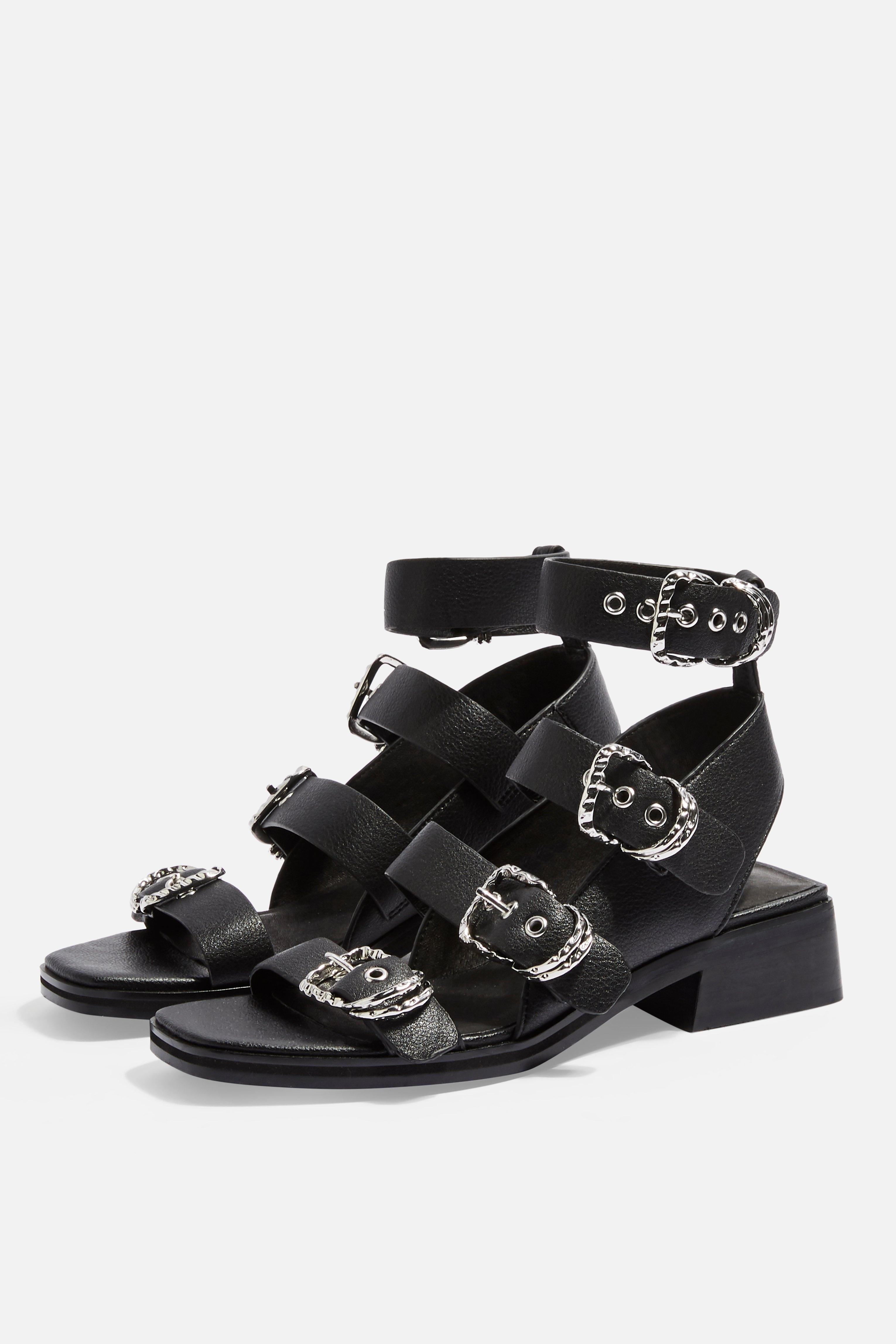 47f9605d0 Lyst - TOPSHOP Victory Black Leather Buckle Sandals in Black