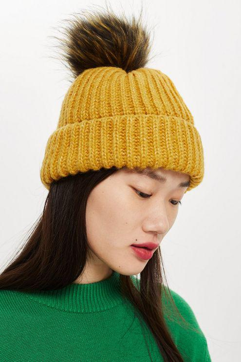 4d509fa2068 Topshop Knitted Faux Fur Pom Hat in Yellow - Lyst