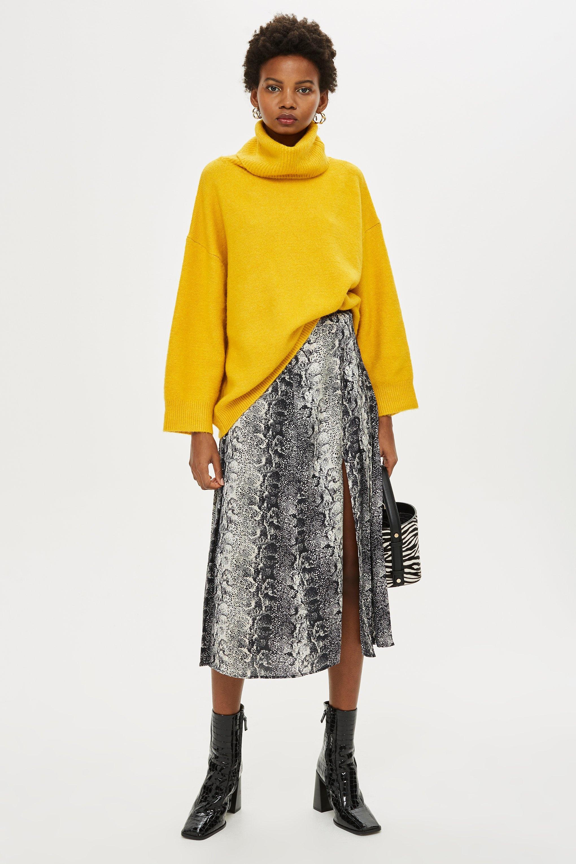 020e2bfd6 Lyst - TOPSHOP Snake Print Splice Midi Skirt in Natural