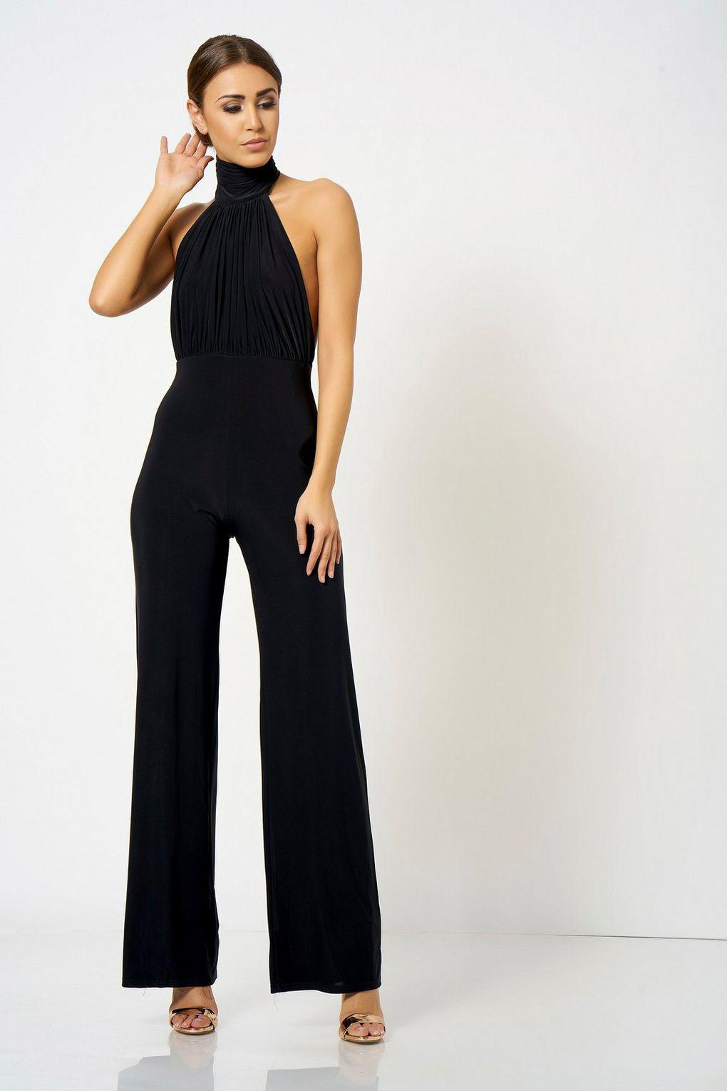 d2717333533 Club L High Neck Jumpsuit By London in Black - Lyst