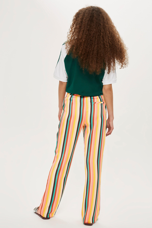 b9e9201991 TOPSHOP Rainbow Striped Wide Leg Trousers - Save 17% - Lyst