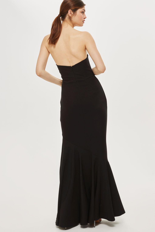 Lyst - Topshop Crepe Bandeau Fishtail Dress in Black