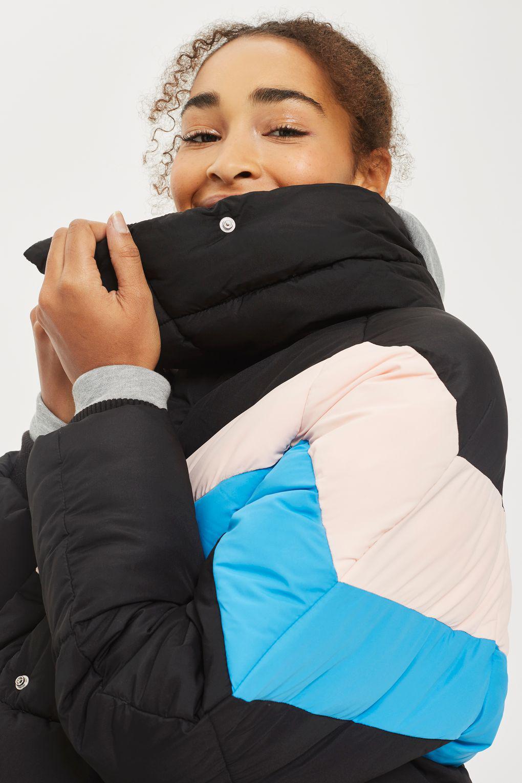 1e850637b Lyst - TOPSHOP Colour Block Puffer Jacket in Black