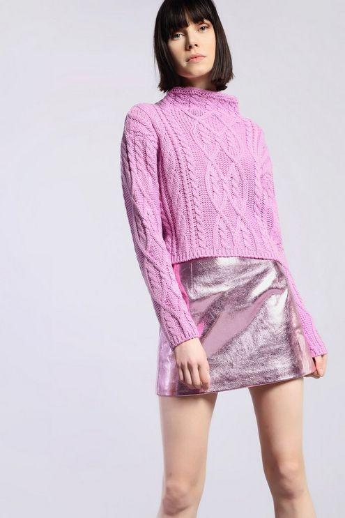 877ac1a5285 TOPSHOP cropped Knitted Jumper By Glamorous in Pink - Lyst