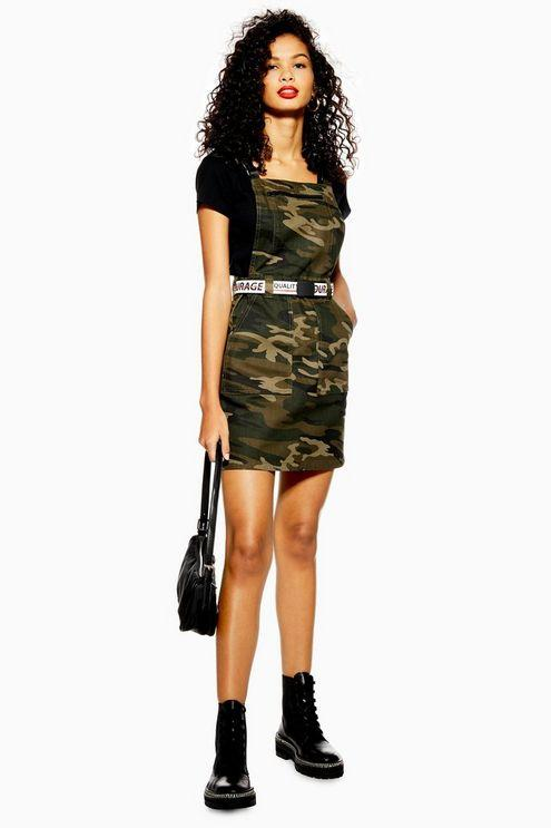 cf7a1fd889716 TOPSHOP Camouflage Denim Clip Buckle Pinafore Dress in Green - Lyst