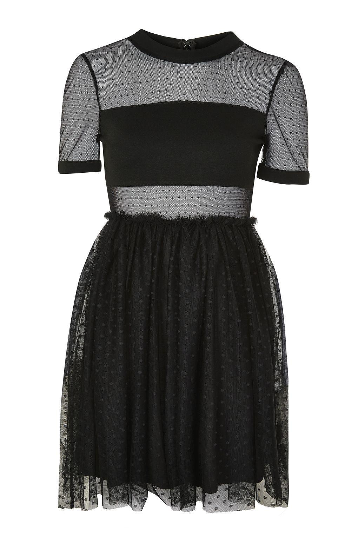 Lyst - Topshop Spot Mesh Tulle Prom Dress in Black e26e2ec42