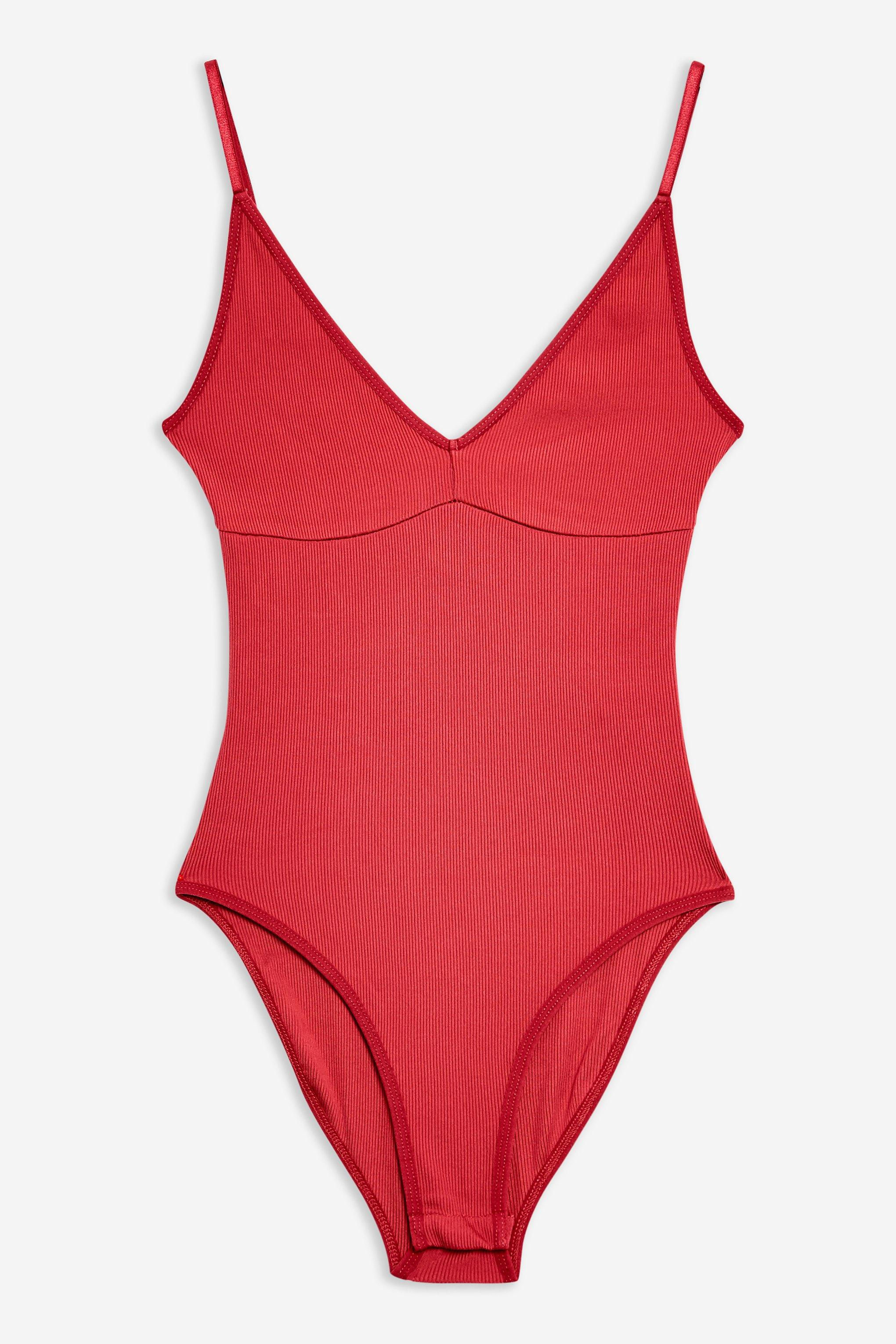 d58a615673 TOPSHOP - Red Plunge Strappy Bodysuit - Lyst. View fullscreen