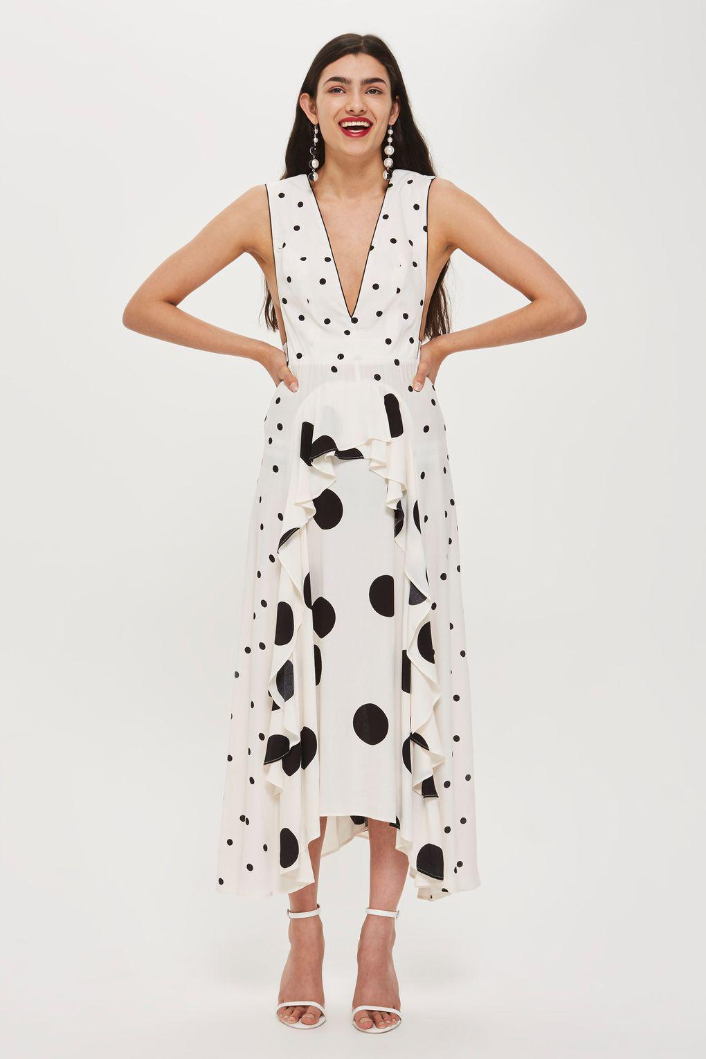 aa9963de0e TOPSHOP Mix Spotted Midi Dress in White - Lyst