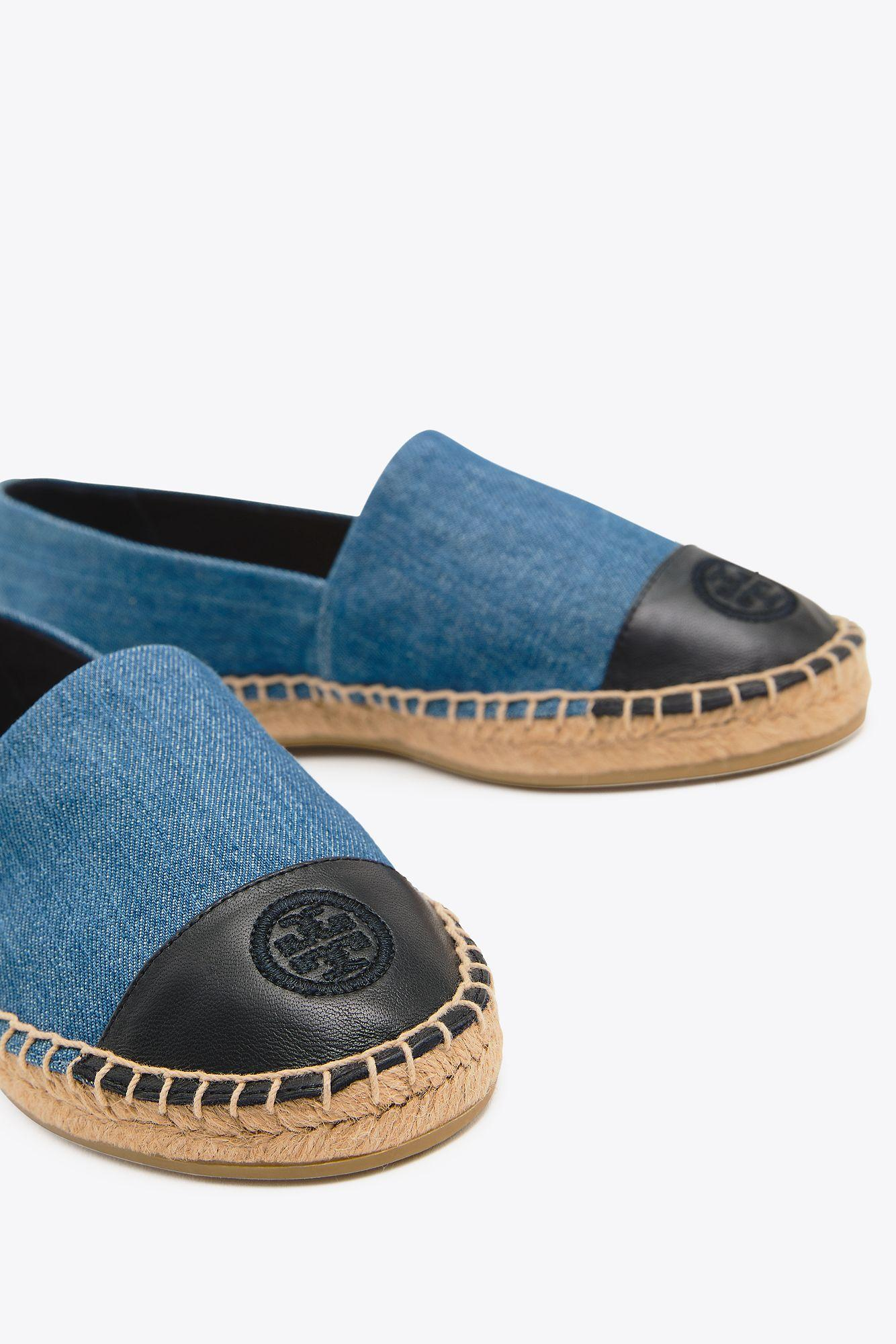 f4f6bc8c256ca Tory Burch - Blue Color Block Flat Espadrille (denim Chambray) Women s Shoes  - Lyst. View fullscreen