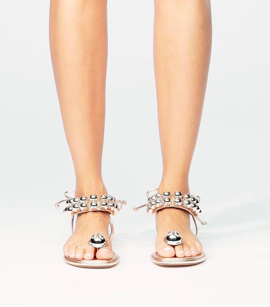 2d57ba66c9d Lyst - Tory Burch Melody Metallic Ankle-strap Sandal in Pink
