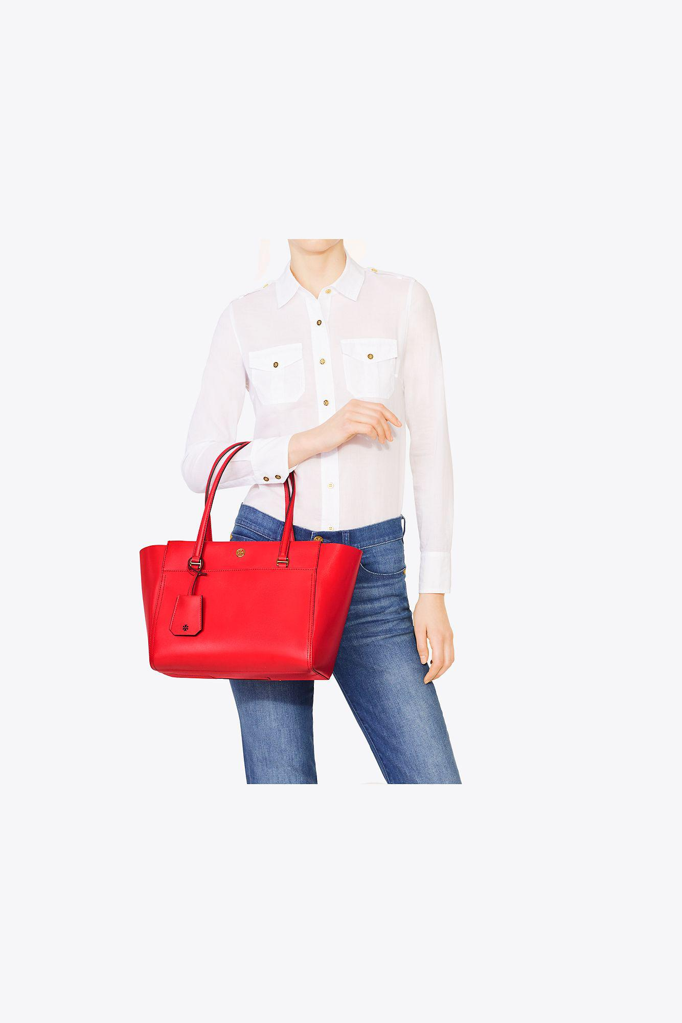 244966bb3a31ab Tory Burch Parker Small Tote in Red - Lyst