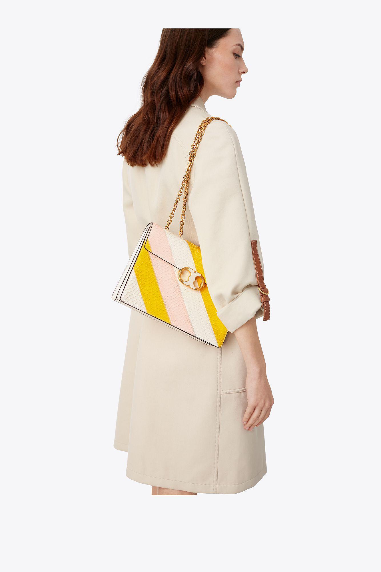387d25ad6fa Lyst - Tory Burch Gemini Link Snake Medium Chain Shoulder Bag in Pink
