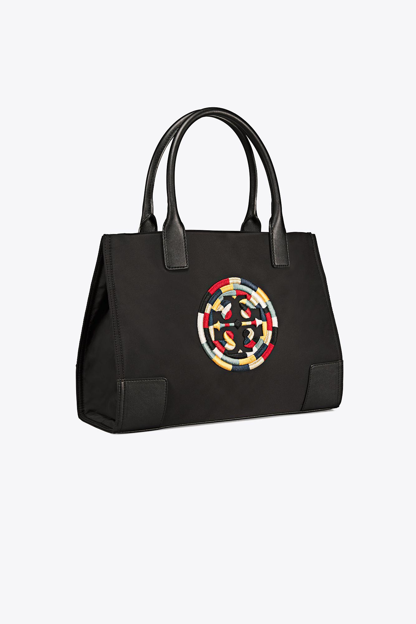 6866a082dc15 Lyst - Tory Burch Ella Embroidered Mini Tote in Black