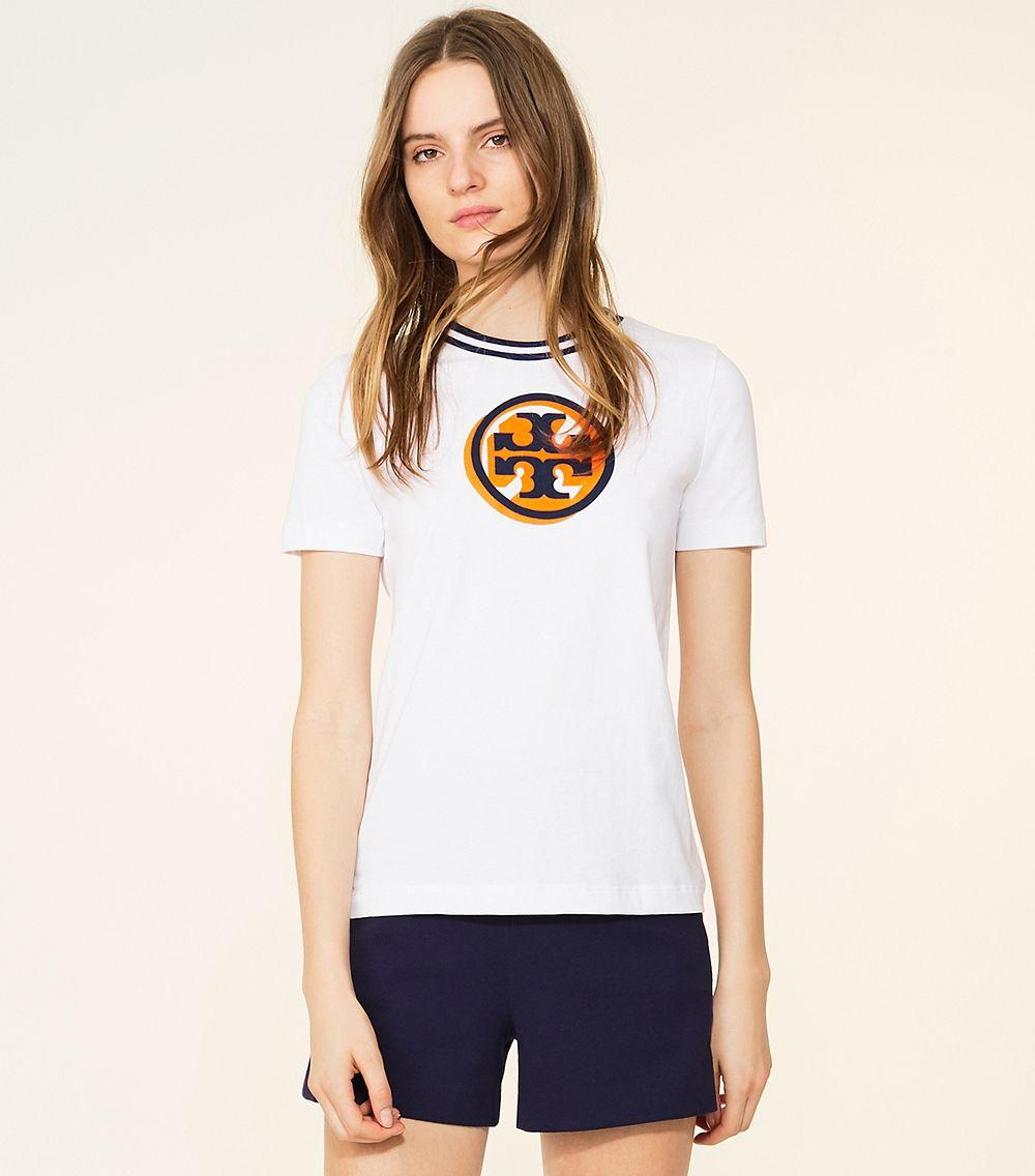 Lyst tory burch isabelle t shirt in white for Tory burch t shirt