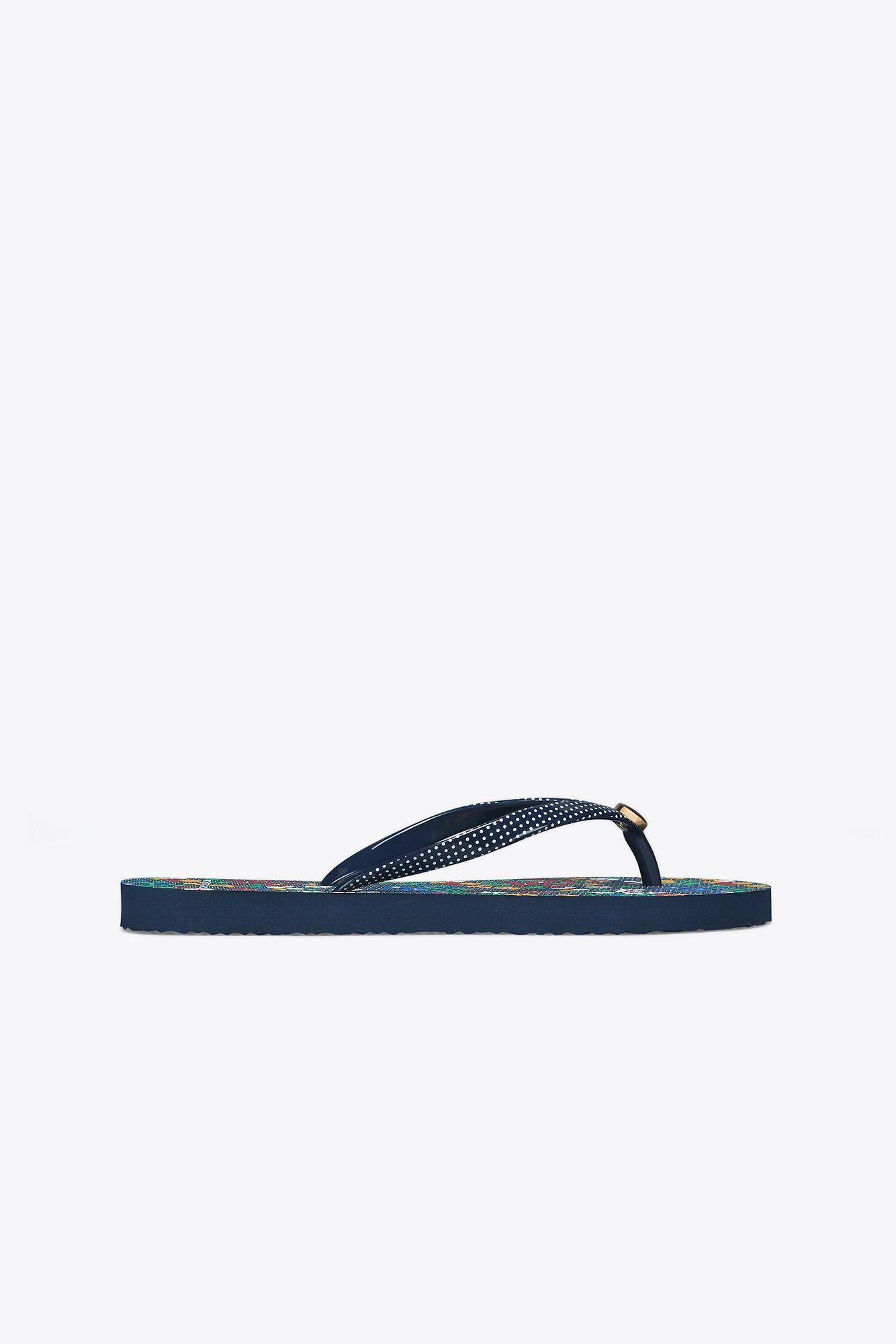ba4aa2c4c161 Tory Burch Printed-strap Thin Flip-flop in Blue - Save ...