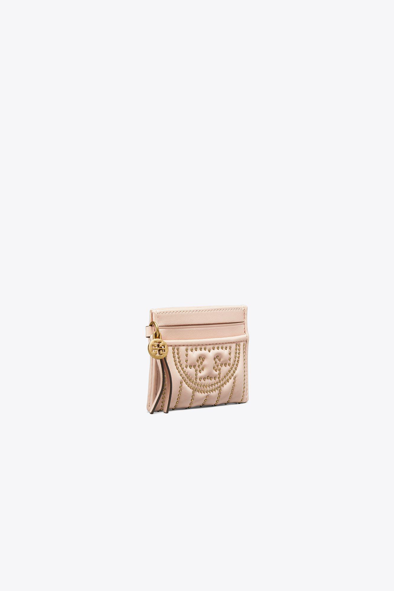 f79cfc19dd99 Tory Burch - Pink Fleming Mini Stud Slim Card Case - Lyst. View fullscreen
