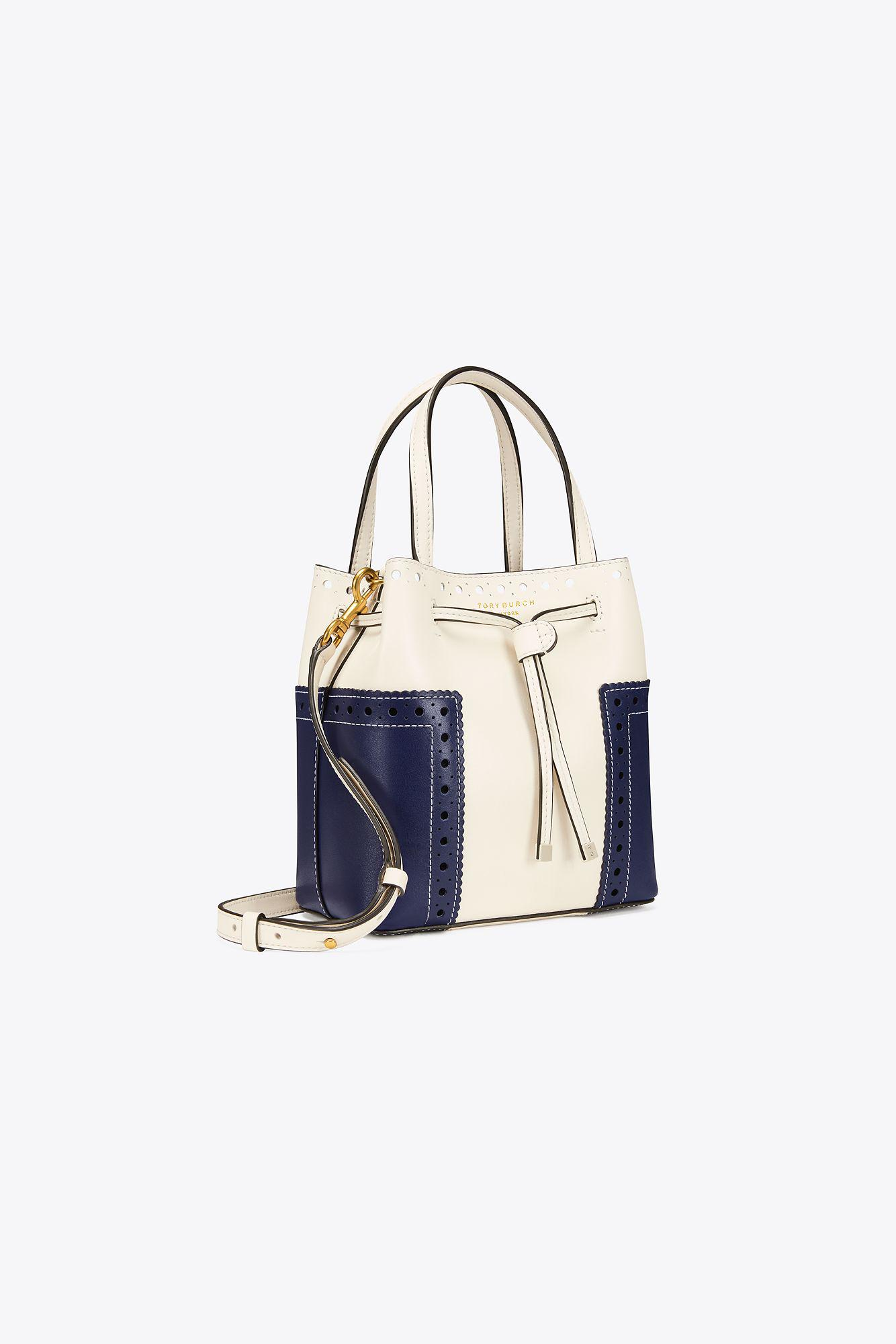 b545020a054 Lyst - Tory Burch Block-t Brogue Micro Drawstring Cross-body in Blue
