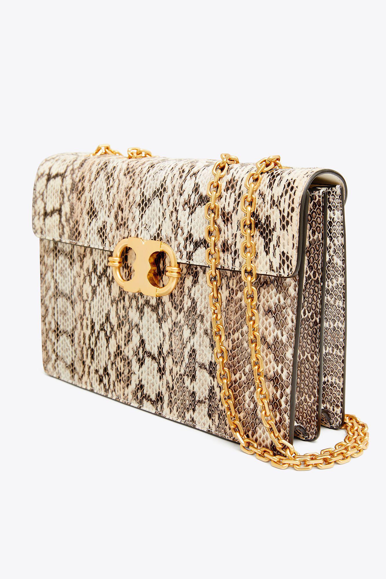 9339946abea Lyst - Tory Burch Gemini Link Snake Medium Chain Shoulder Bag in Natural