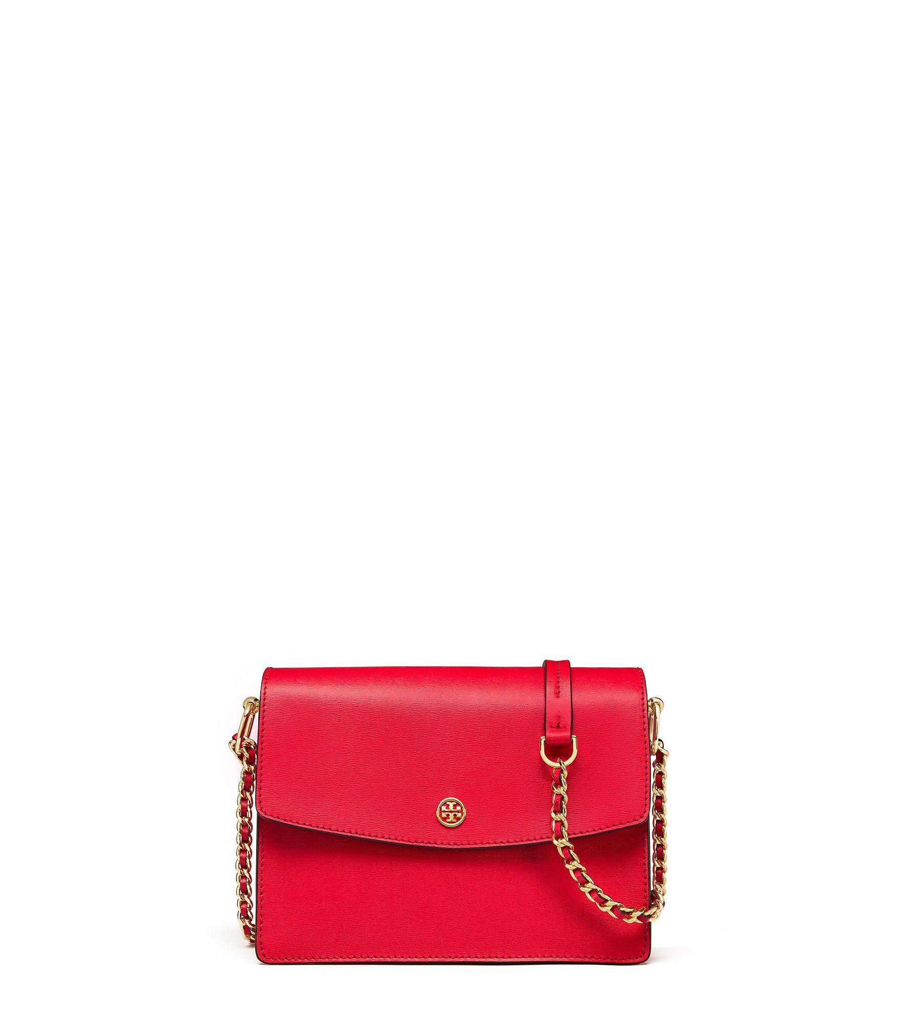 243238724 Tory Burch Parker Convertible Shoulder Bag in Red - Lyst