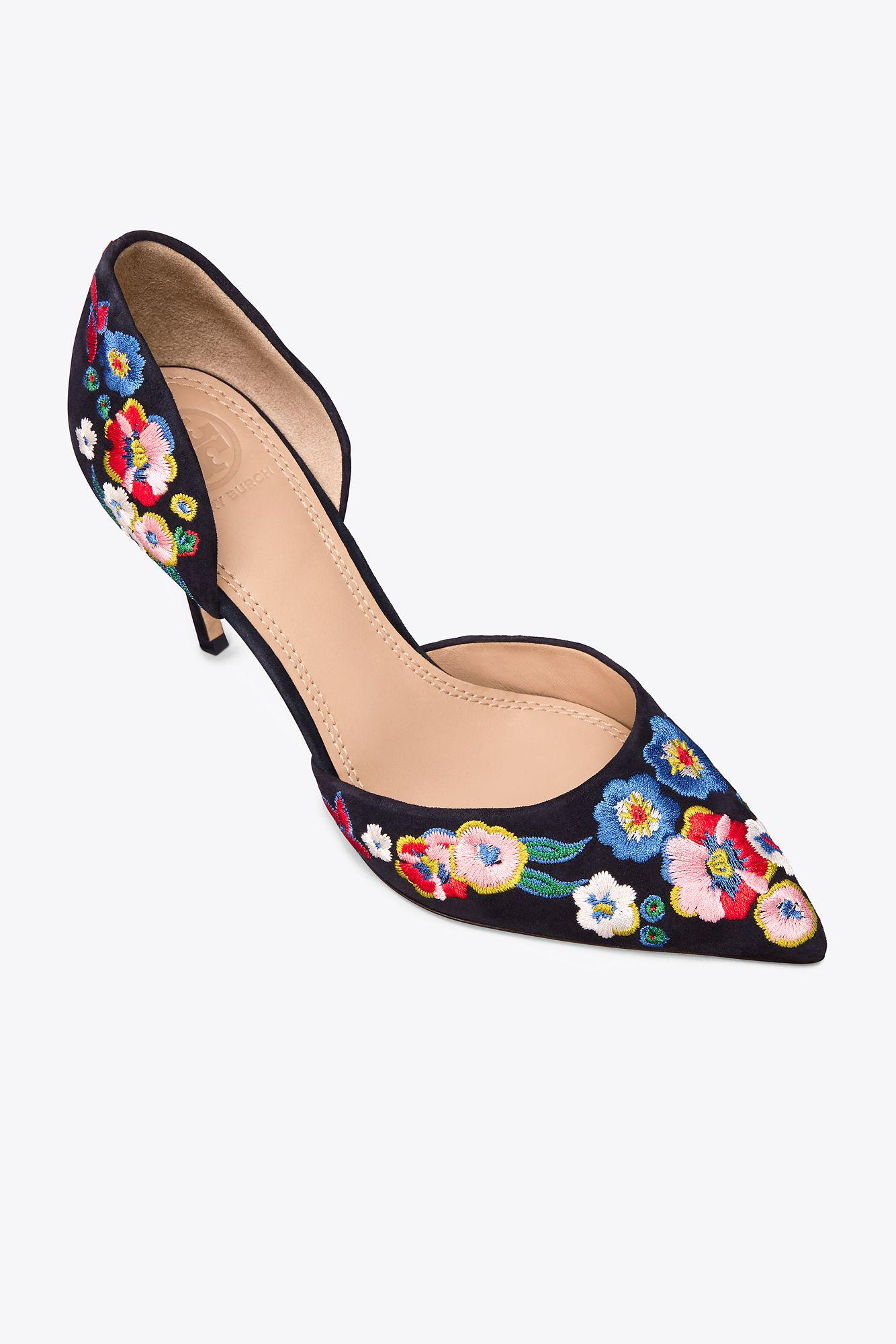 6706cebff075 Lyst - Tory Burch Rosemont Embroidered D orsay High-heel Pumps in Blue