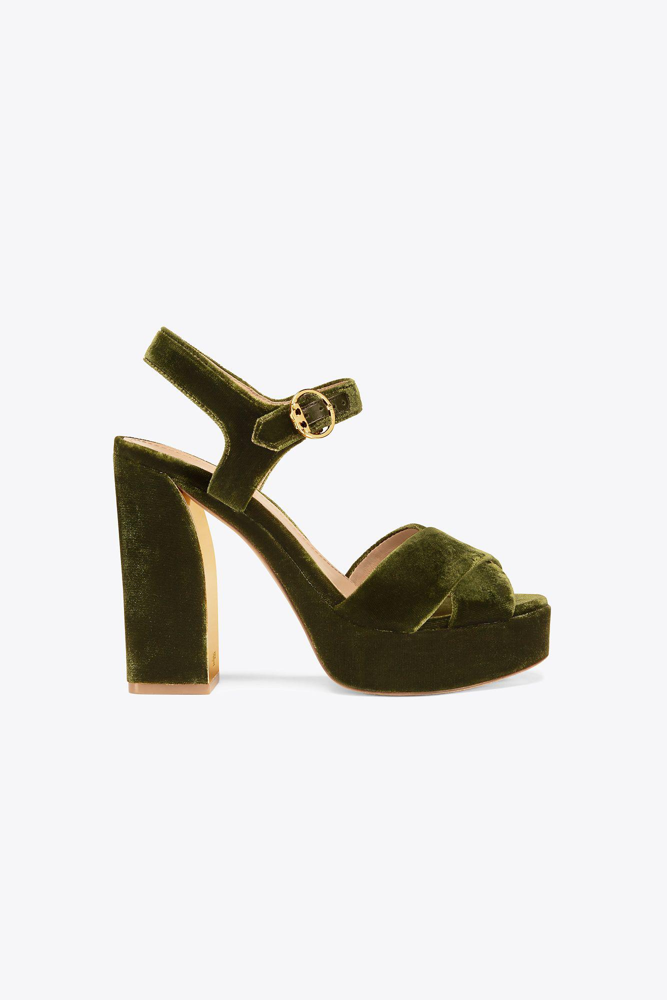 ea5e647365b516 Lyst - Tory Burch Loretta Velvet Platform Sandal in Green