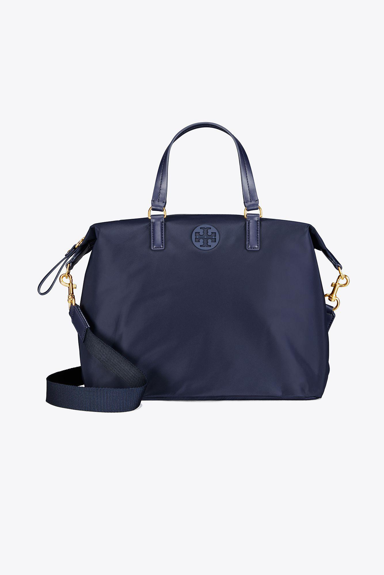 106b61e2ea2 Tory Burch Tilda Nylon Slouchy Satchel in Blue - Lyst