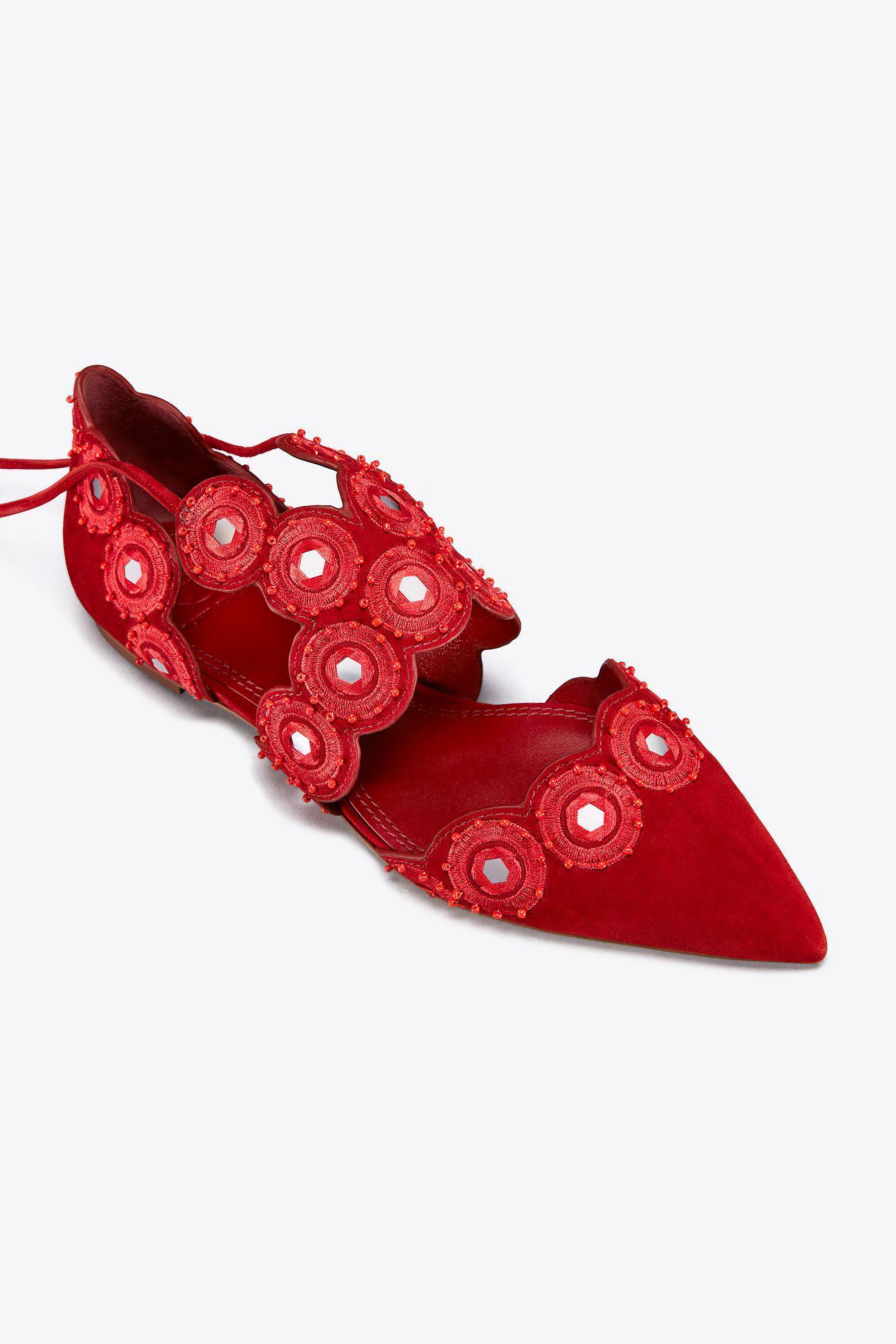828071c1a26a Lyst - Tory Burch Yasmin D orsay Flat in Red