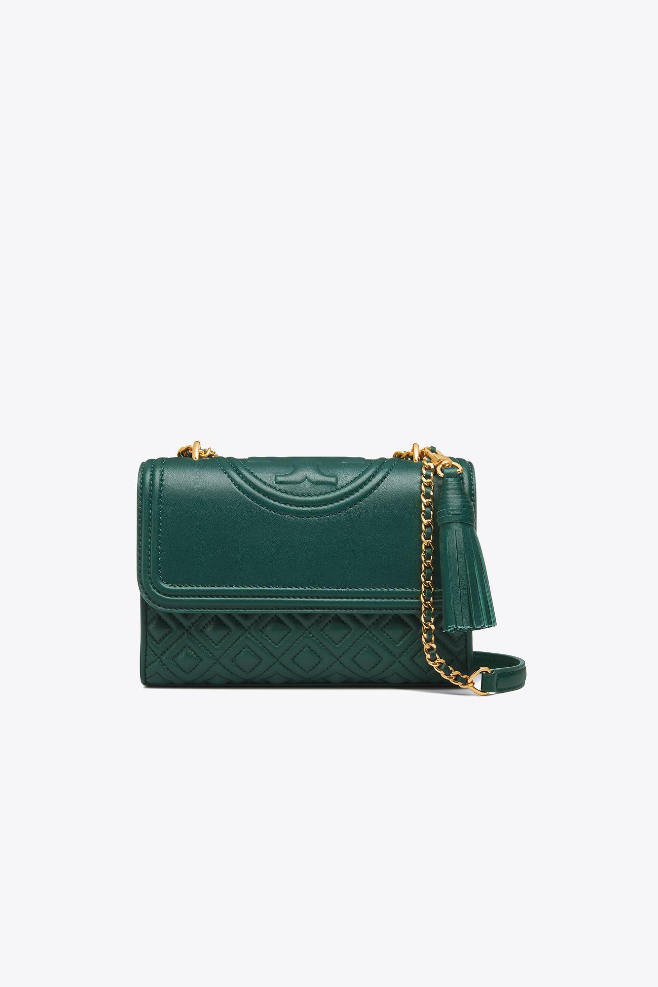 34b3f146f19f Lyst - Tory Burch Fleming Small Convertible Shoulder Bag in Green