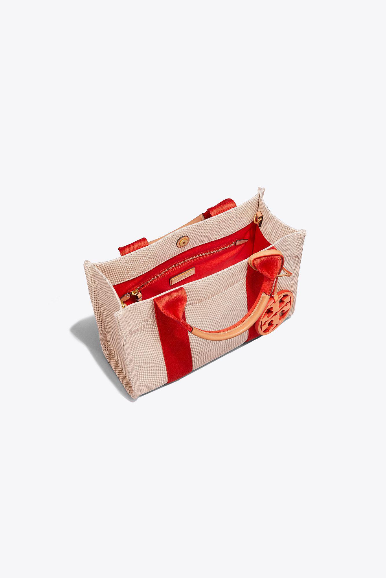 0e12ca1b6e96 Tory Burch Miller Canvas Mini Tote in Red - Lyst