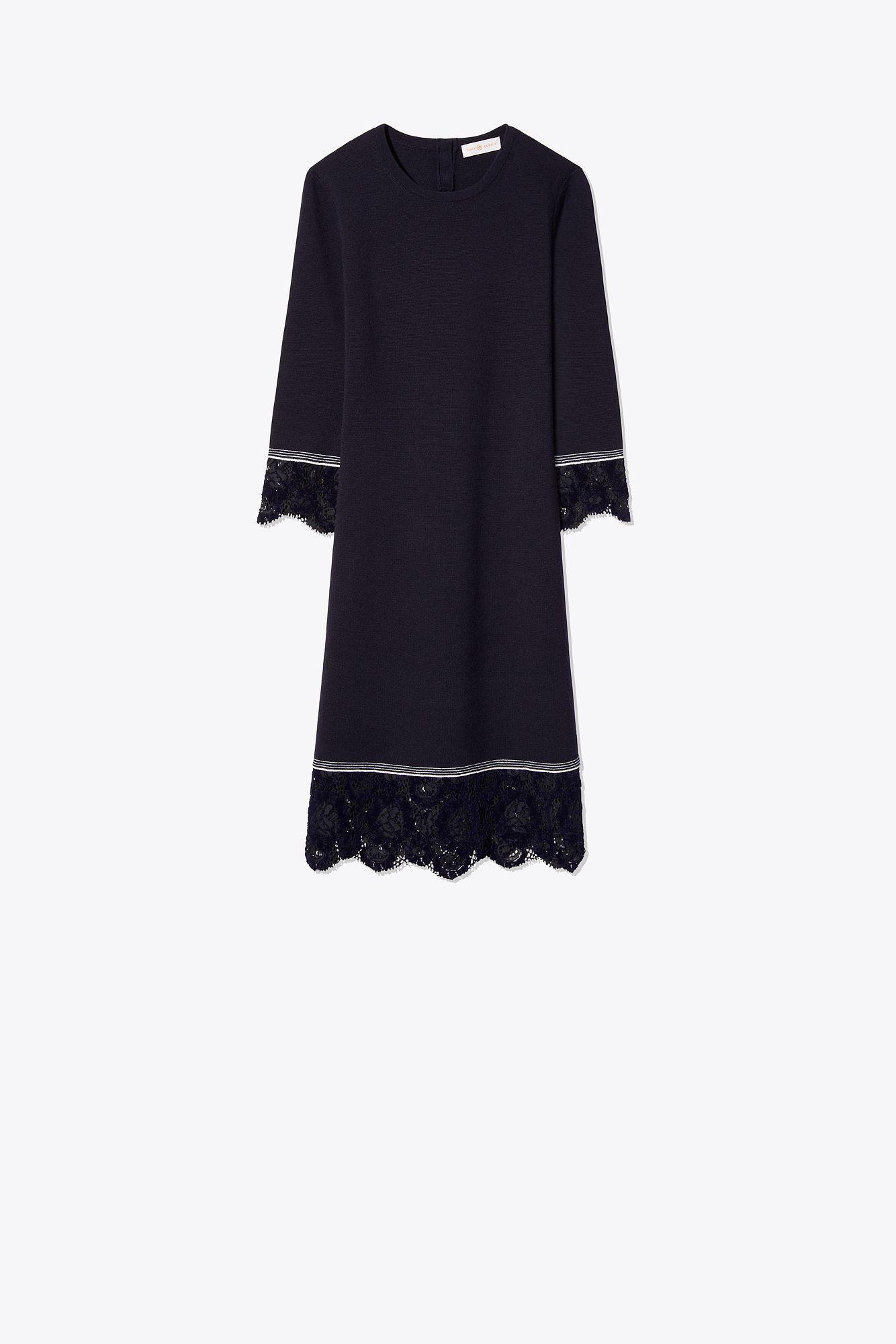 156a851b53e Tory Burch Lace-trim Sweater Dress in Blue - Lyst