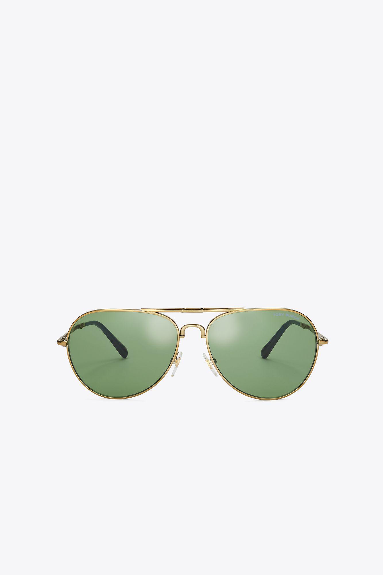 c30b53ba8106 Lyst - Tory Burch Foldable Pilot Sunglasses in Metallic