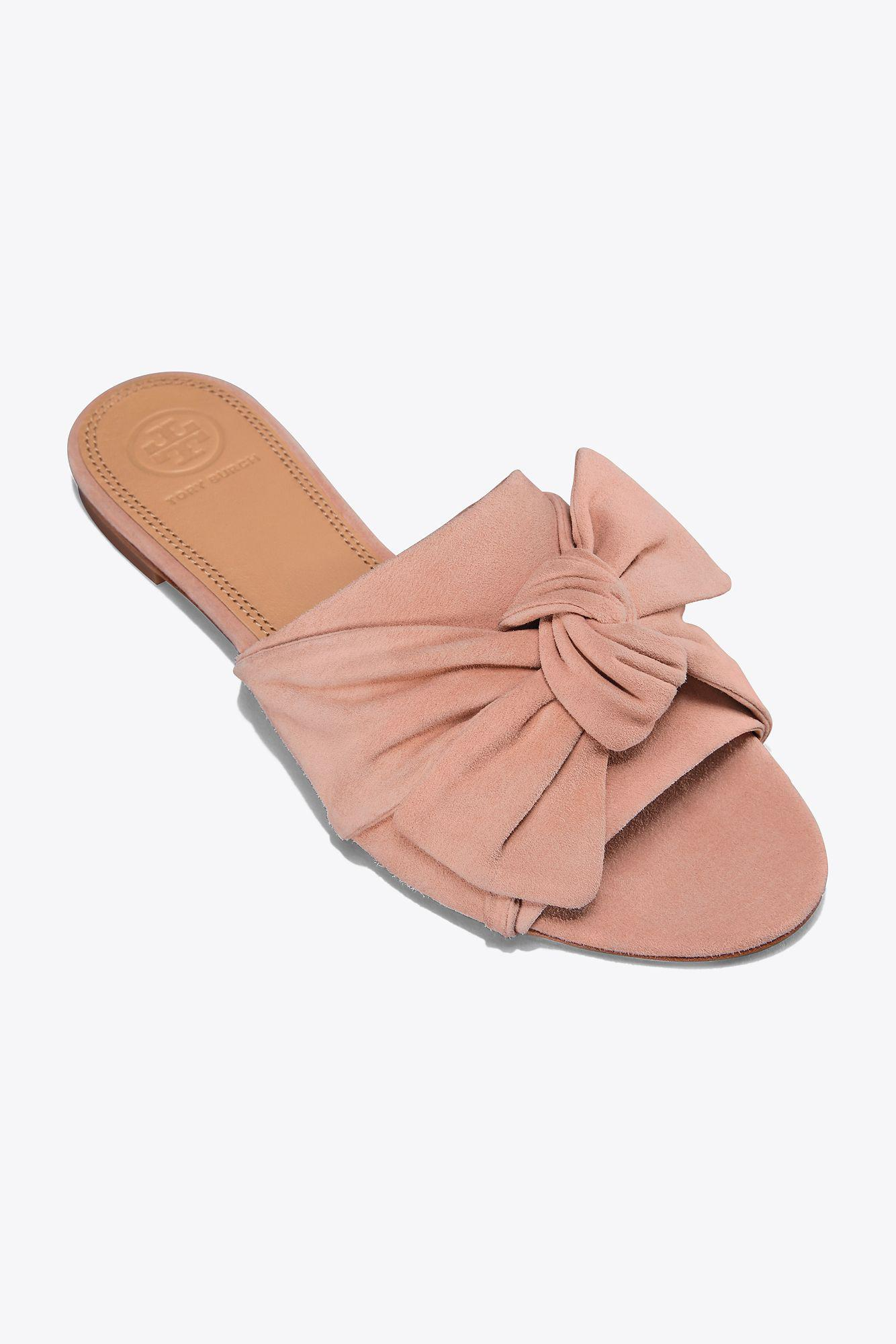4db6f0409f02b3 Lyst - Tory Burch Annabelle Suede Bow Slide in Pink