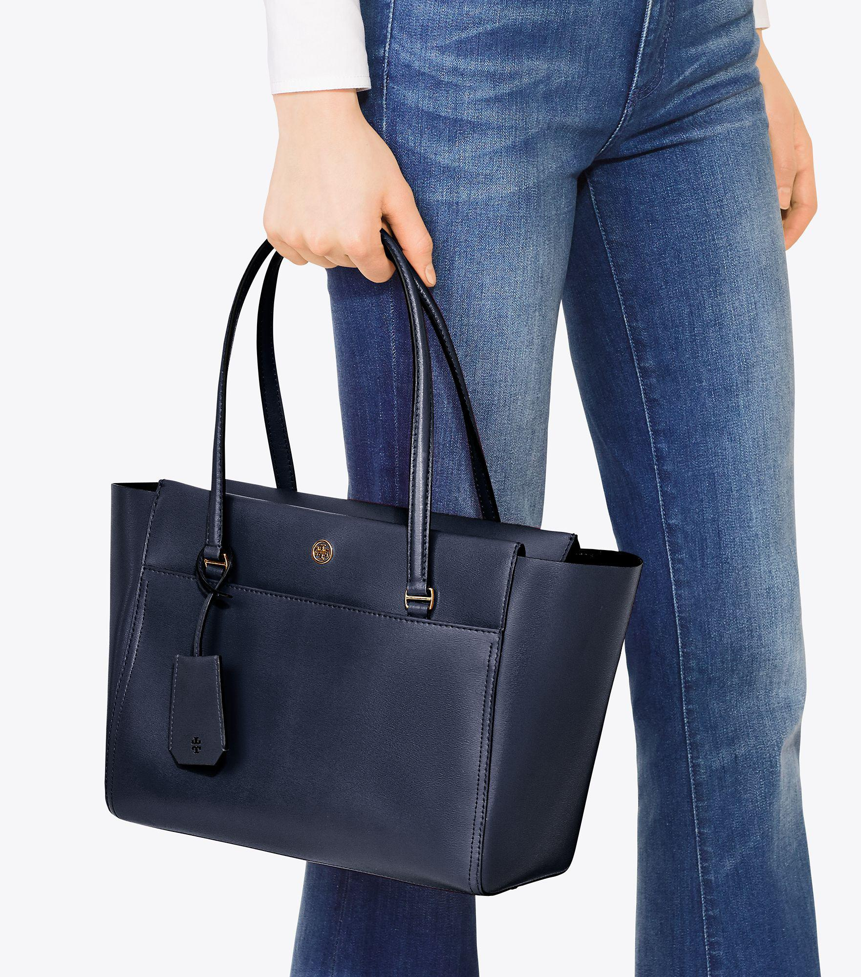 e9960706473 ... inexpensive lyst tory burch parker small tote in blue 84bd0 26ead