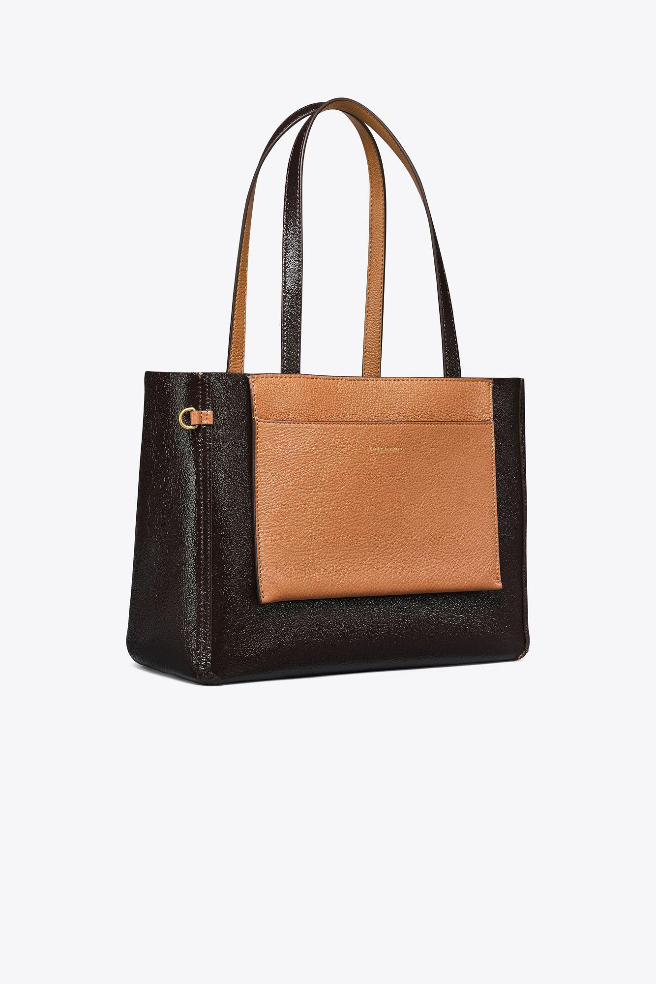 4f6008509c Lyst - Tory Burch Perry Reversible Mini Tote in Brown