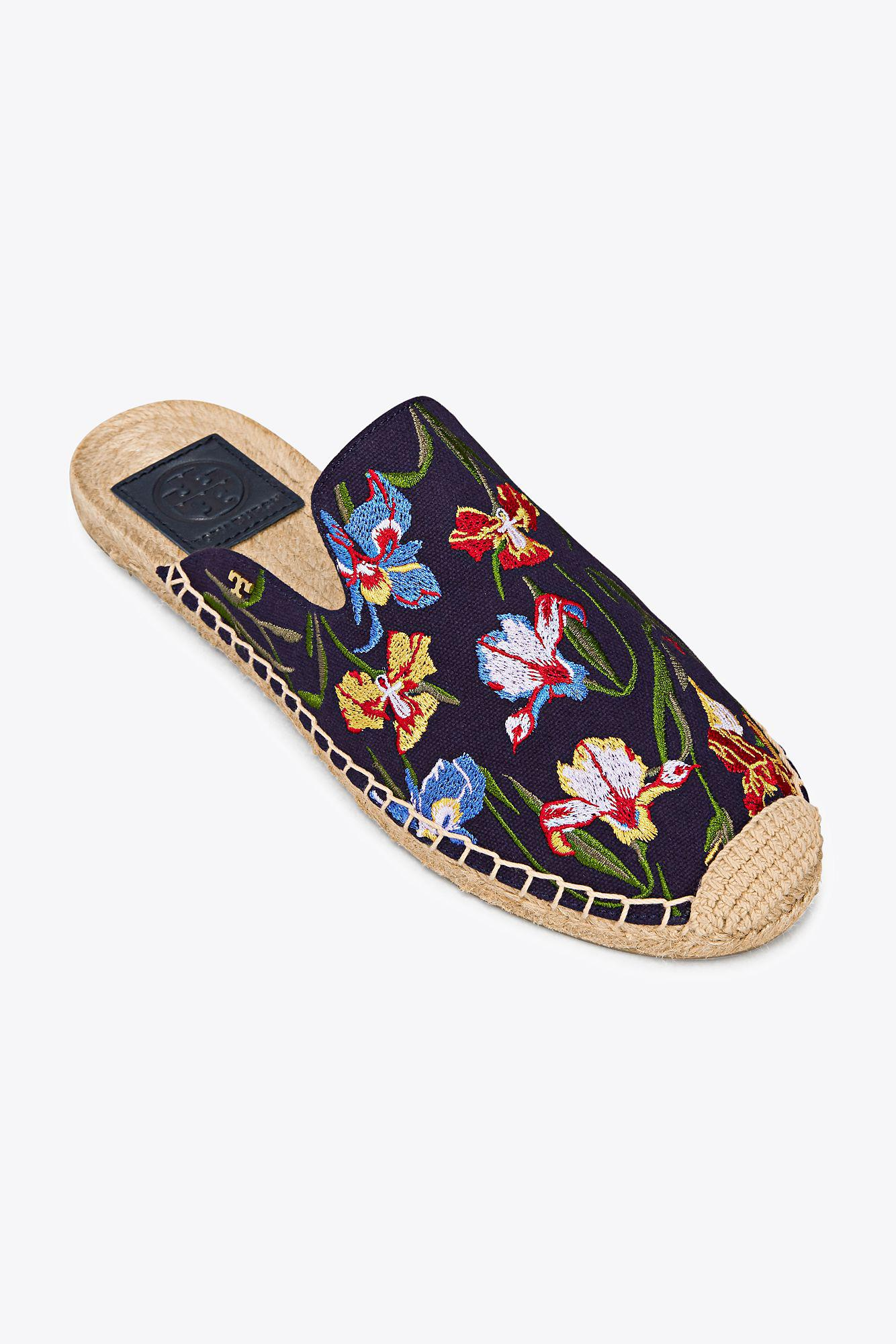 Max embroidered espadrille slides - Blue Tory Burch mitZg