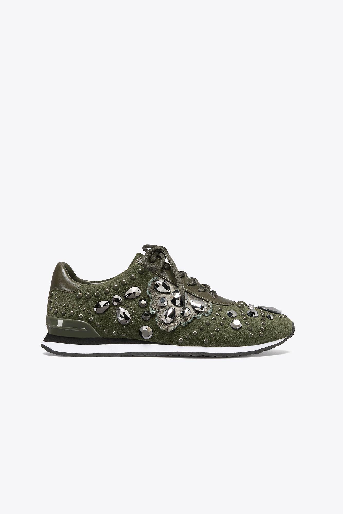 e1db4844d4e6 Lyst - Tory Burch Scarlett Suede Sneaker in Green