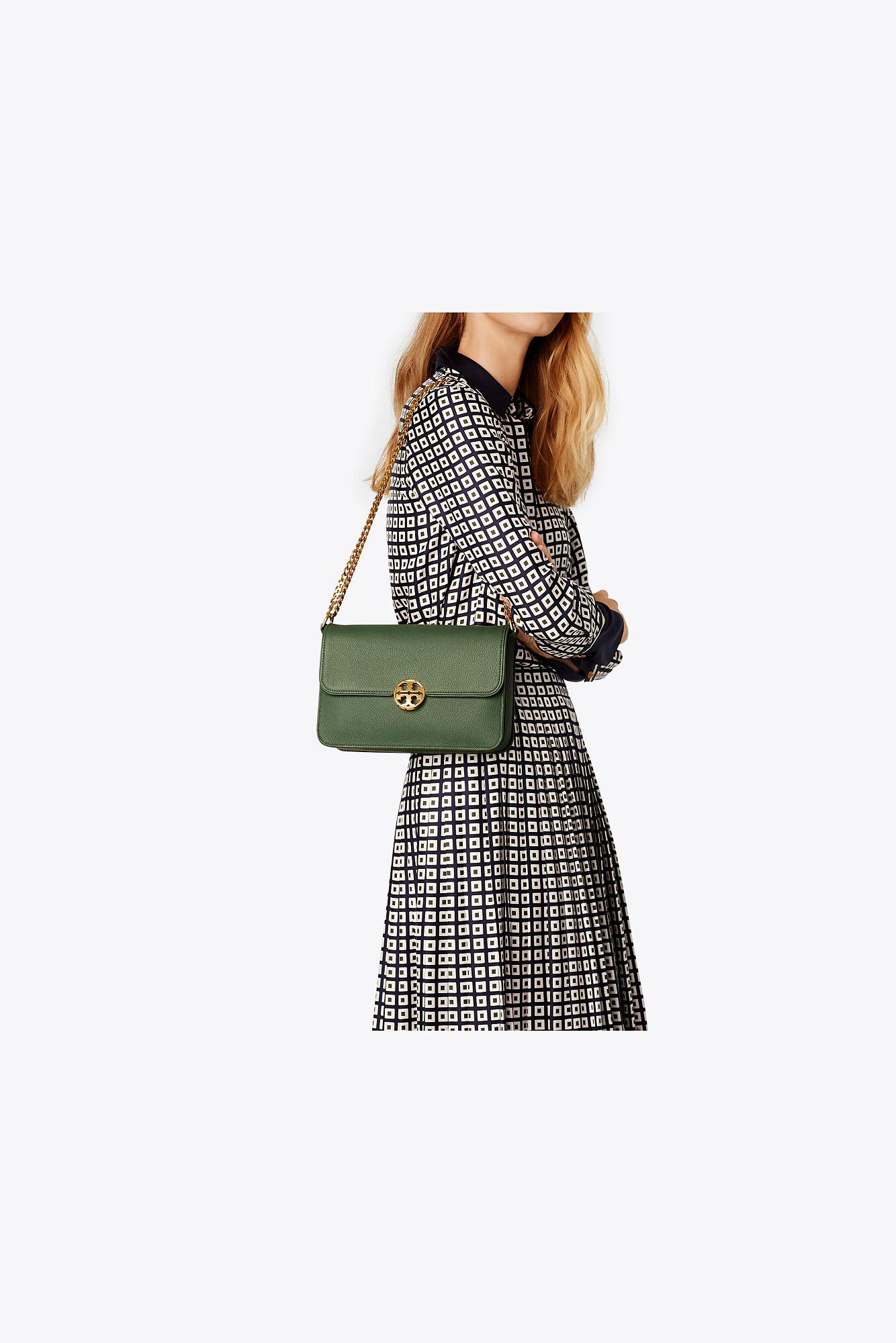 5e15b3241471 Lyst - Tory Burch Chelsea Shoulder Bag in Green