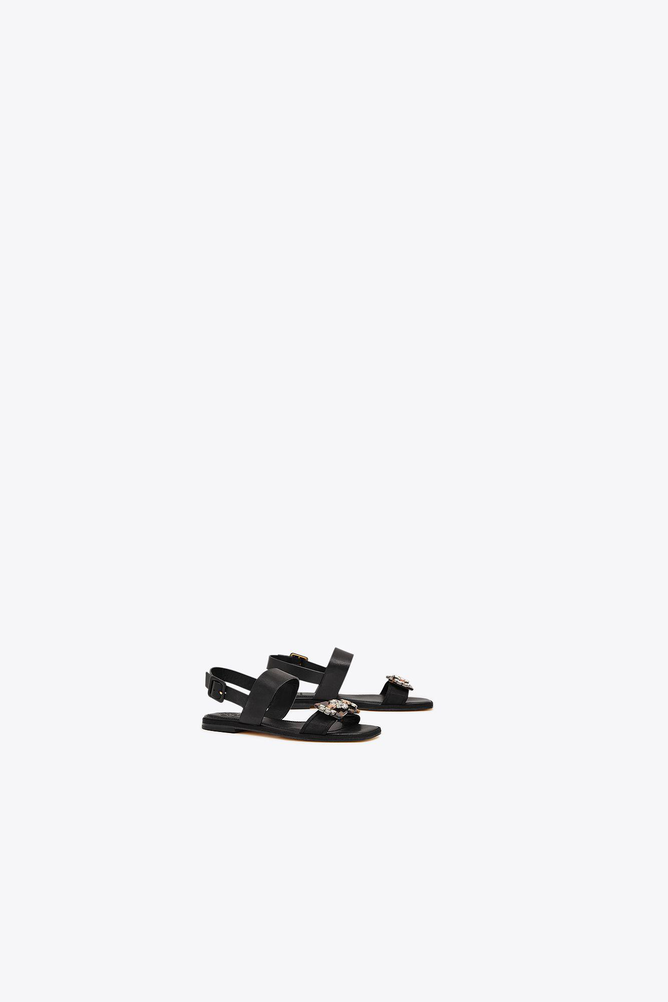 2758a61ad11 Tory Burch Delaney Embellished Flat Sandal in Black - Lyst