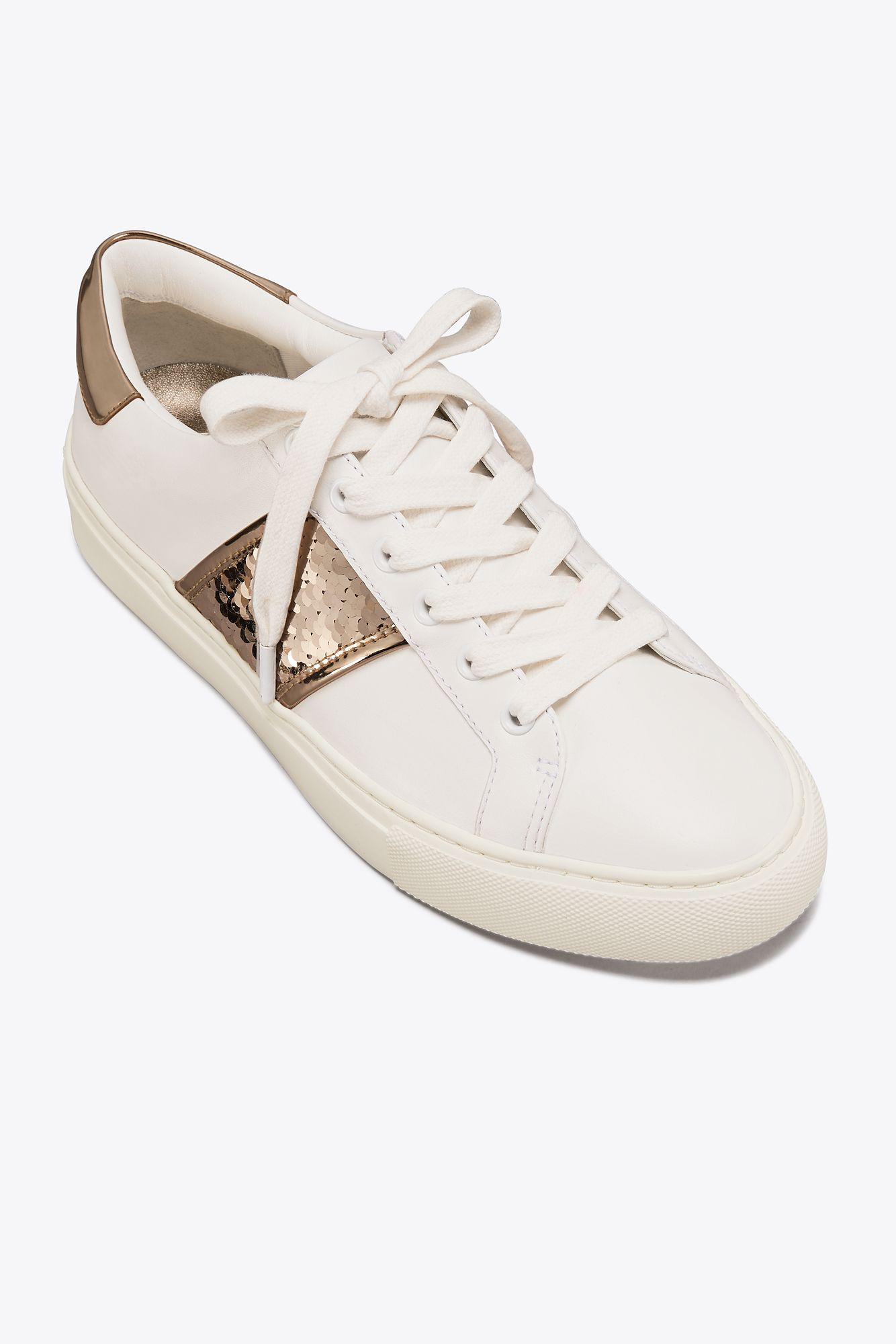 12dc41c4a Lyst - Tory Burch Carter Sequin Sneaker in White