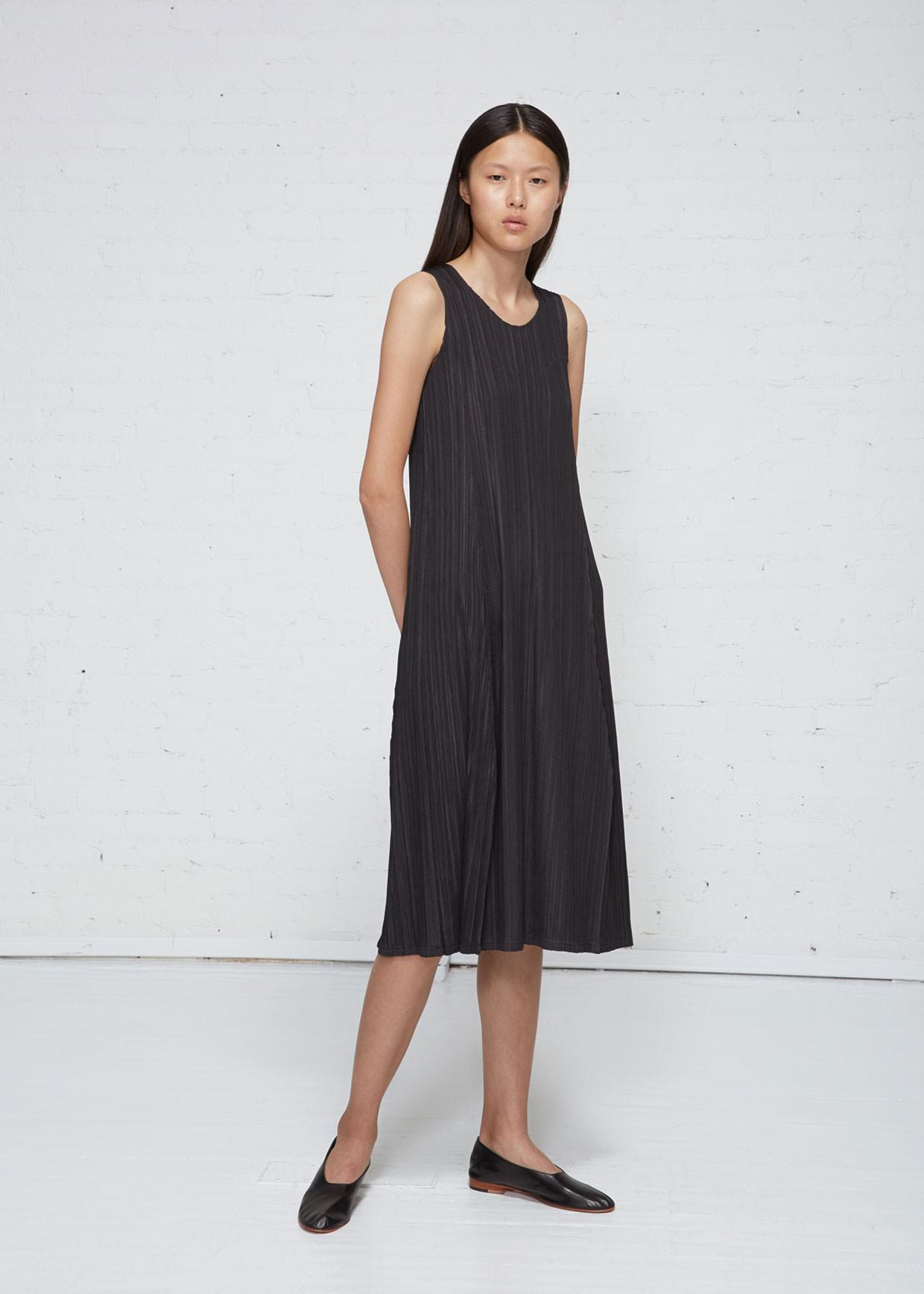 a3c39ff6288e4 Lyst - Pleats Please Issey Miyake Mellow Pleats Long Dress in Black
