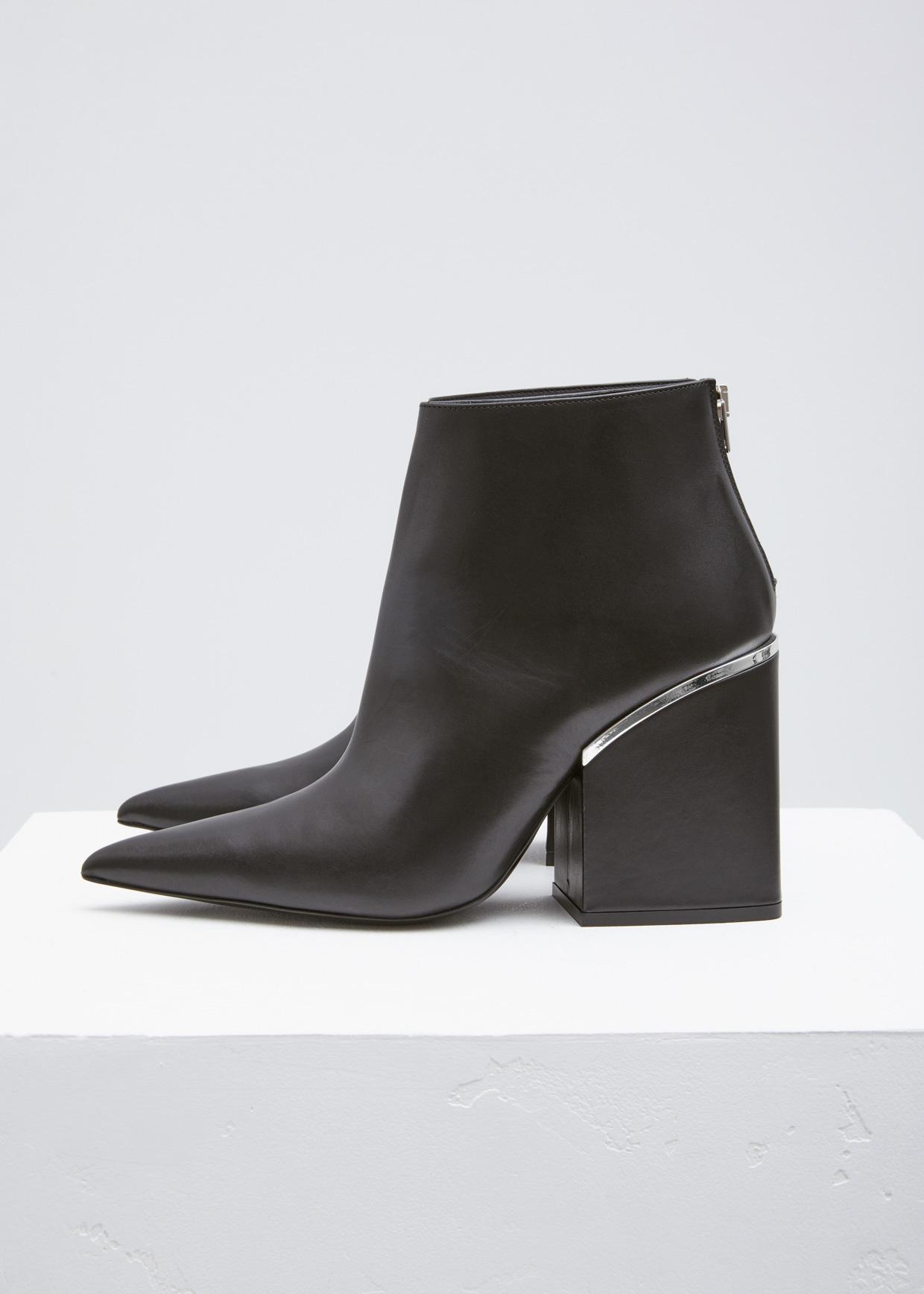 marni black silver pointed toe ankle boot in black lyst